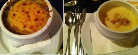 Gratiné de soupe à l'oignon et velouté de panais