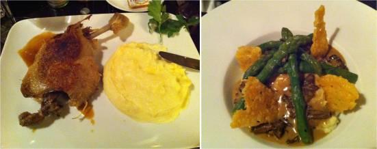 Confit de canard et purée maison, et risotto asperges morilles