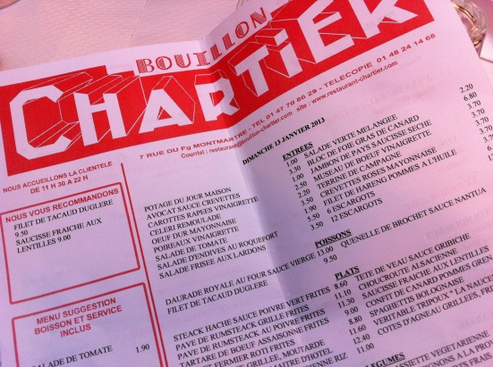 La carte du Bouillon Chartier à Paris