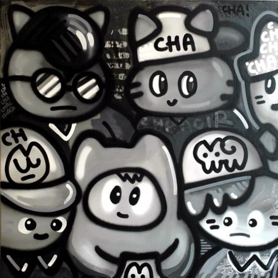 Gris Sur Gris Cha, Chanoir, 2014, acrylique et peinture aérosol sur toile. 2500 euros