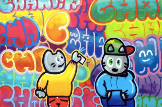 Deux Cha au Paradis du Graffiti, Chanoir, 2013, acrylique et peinture aérosol sur toile