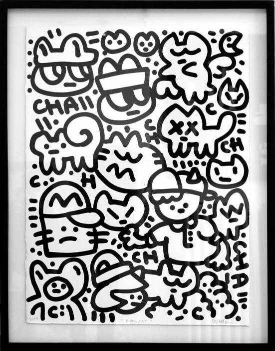 Mundo cat, Chanoir, 2015, acrylique sur papier. 1400 euros