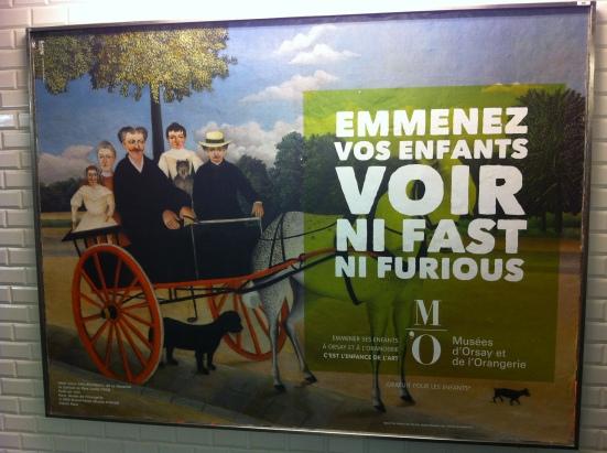 """""""Emmenez vos enfants voir ni Fast ni Furious"""" sur une charettedu Douanier Rousseau, Publicité pour le Musée d'Orsay, Agence Madame Bovary, 2015"""