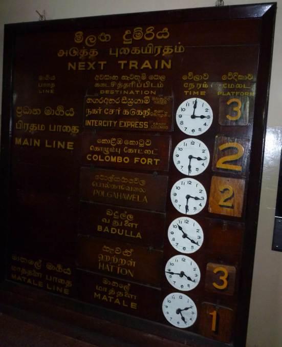 Panneau d'affichage des trains au départ
