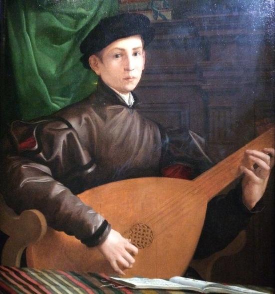 Portrait d'un joueur de luth, Francesco Salviati, 1529-1530, Huile sur bois