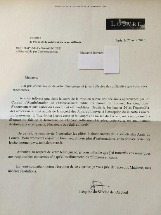 Lettre de la Direction de l'accueil du public et de la surveillance du Louvre