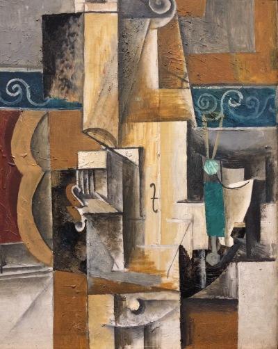 Violon et verres sur une table, Pablo Picasso, 1913, Paris, huile sur toile © barbaravousenditplus