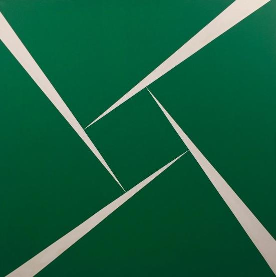 Green and white, Carmen Herrera, 1956, Huile sur toile, Collection Ella Fontanals-Cisneros, Miami